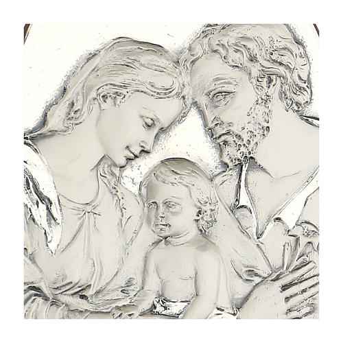 Bas-relief, Holy Family, oval, silver 2
