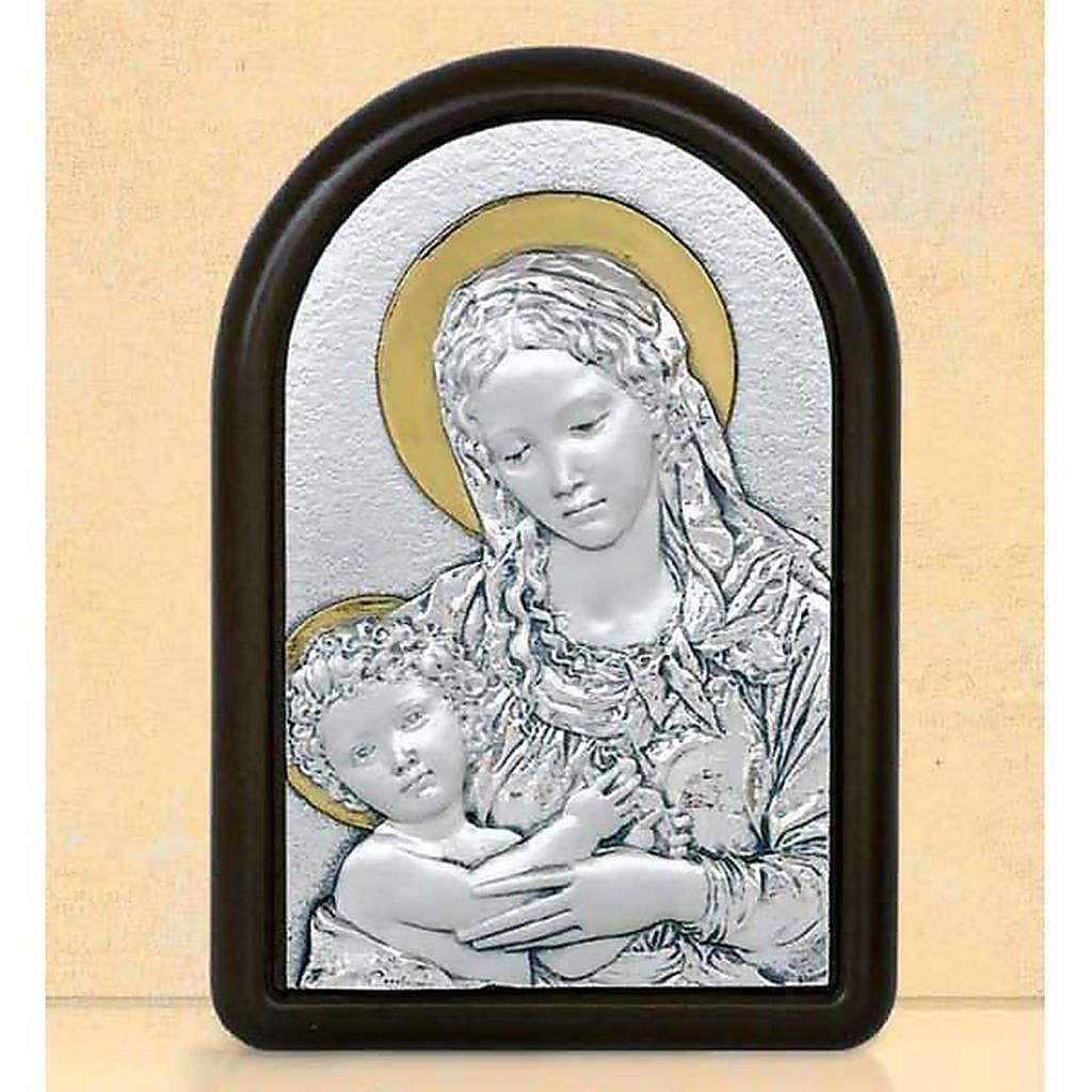 Bas-relief Vierge et enfant Jésus avec auréole argent or 4