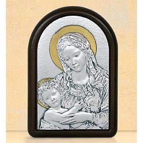 Bas-relief Vierge et enfant Jésus avec auréole argent or s1