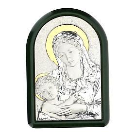Madonna Dzieciątko Jezus z aureolą płaskorzeźba srebro złoto s1