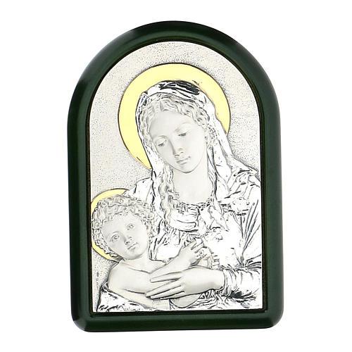 Madonna Dzieciątko Jezus z aureolą płaskorzeźba srebro złoto 1