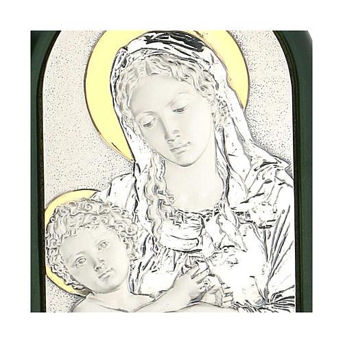 Madonna Dzieciątko Jezus z aureolą płaskorzeźba srebro złoto 2