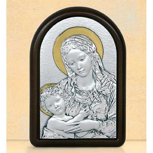 Bas-relief, Virgin Mary and baby Jesus with aureola, silver gold 1