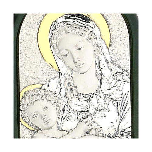 Bas-relief, Virgin Mary and baby Jesus with aureola, silver gold 2