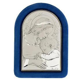 Bassorilievo argento Madonna bimbo addormentato cornice velluto s1