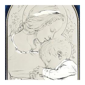 Bassorilievo argento Madonna bimbo addormentato cornice velluto s2
