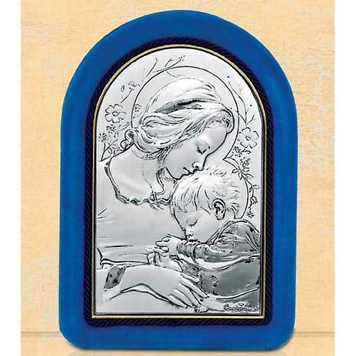 Bassorilievo argento Madonna bimbo addormentato cornice velluto 1