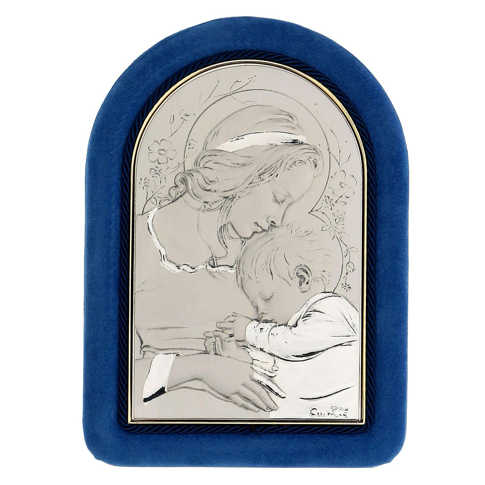 Bas-relief, Virgin Mary and baby Jesus sleeping, velvet frame 4