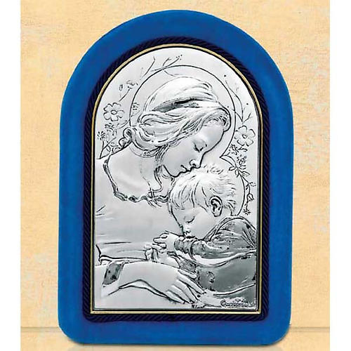 Bas-relief, Virgin Mary and baby Jesus sleeping, velvet frame 1