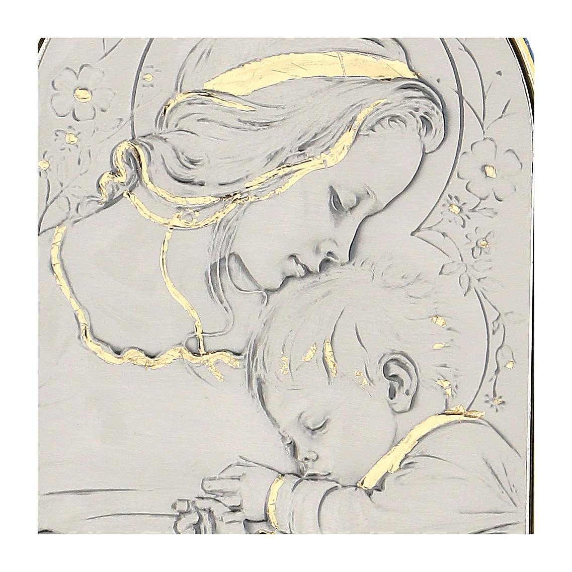 Bassorilievo argento oro Madonna bimbo addormentato e fiori 4