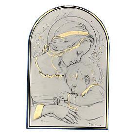 Bassorilievo argento oro Madonna bimbo addormentato e fiori s1