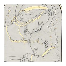 Bassorilievo argento oro Madonna bimbo addormentato e fiori s2