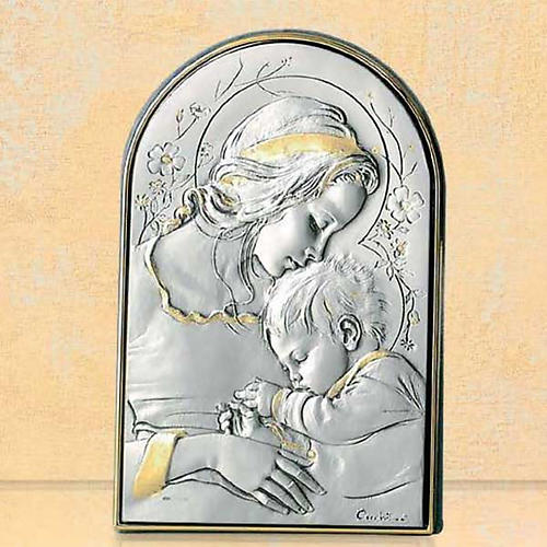 Bassorilievo argento oro Madonna bimbo addormentato e fiori 1