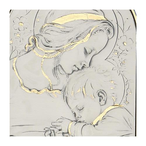 Bassorilievo argento oro Madonna bimbo addormentato e fiori 2
