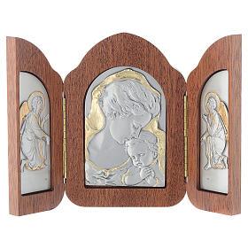 Bassorilievo trittico Madonna bambino angeli argento oro s1