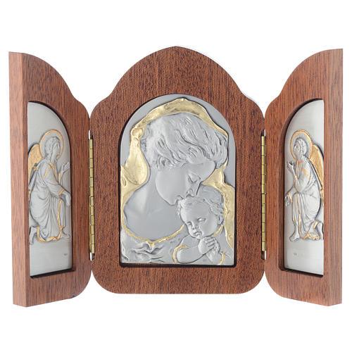 Bassorilievo trittico Madonna bambino angeli argento oro 7