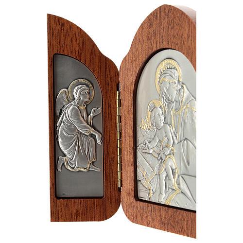 Madonna Dzieciątko aniołki płaskorzeźba tryptyk srebro złoto 3