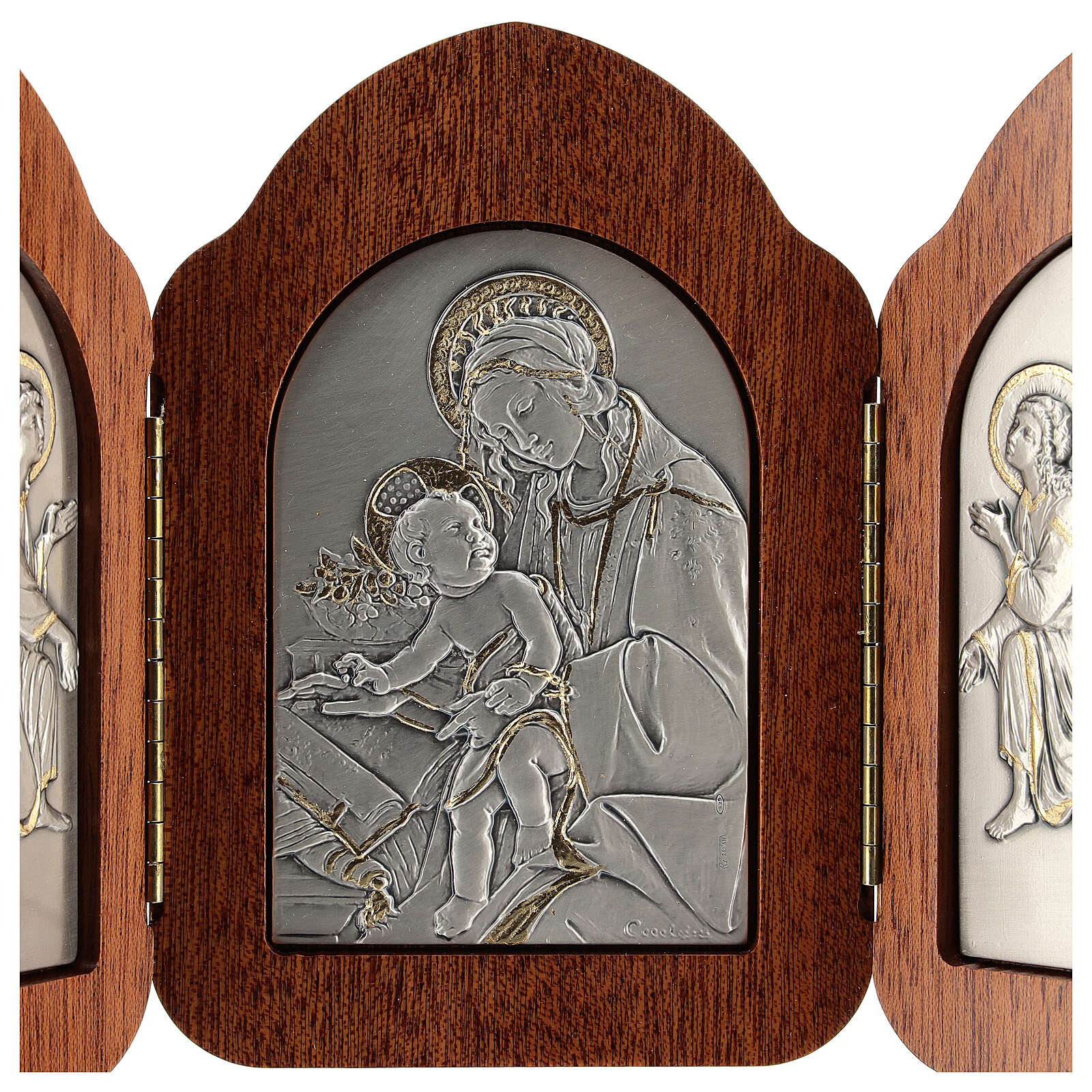 Bas-relief, triptych Virgin Mary, baby Jesus, angels, silver gol 4