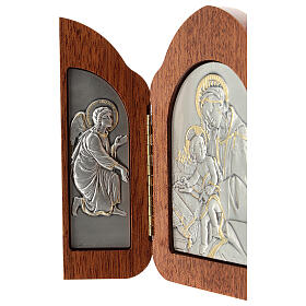 Bas-relief, triptych Virgin Mary, baby Jesus, angels, silver gol s3