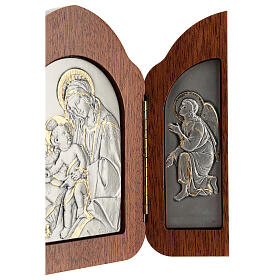 Bas-relief, triptych Virgin Mary, baby Jesus, angels, silver gol s4