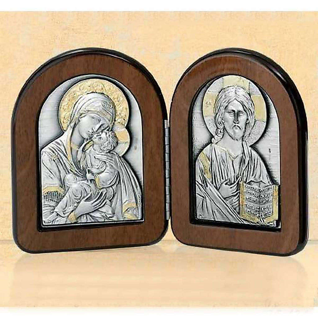 Bas-relief diptyque Vierge avec enfant et Pantocrator argent or 4