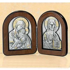 Bas-relief diptyque Vierge avec enfant et Pantocrator argent or s1