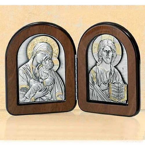 Bas-relief diptyque Vierge avec enfant et Pantocrator argent or 1