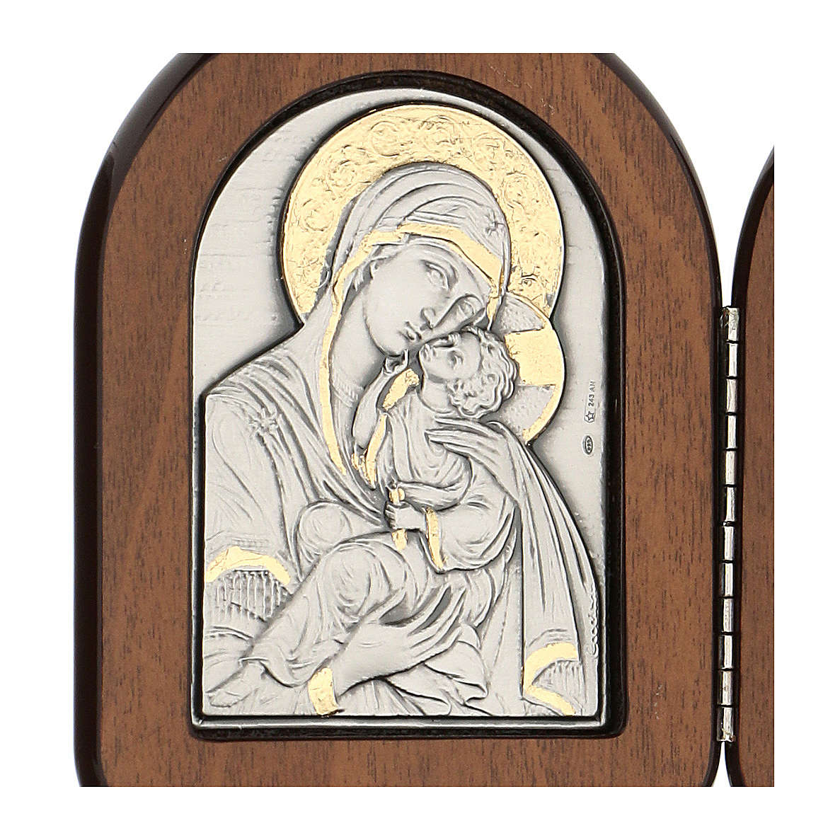 Bassorilievo dittico Madonna bambino e Pantocratore arg. oro 4