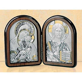 Bas-relief, diptych Our Lady of Tenderness, Pantocrator, silver s1