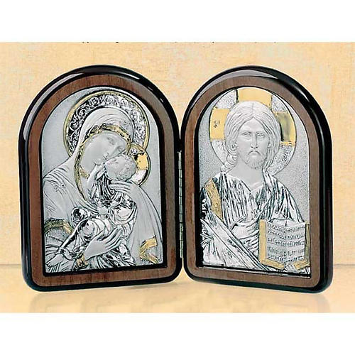 Bas-relief, diptych Our Lady of Tenderness, Pantocrator, silver 1
