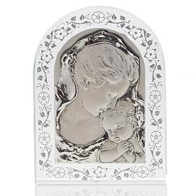 Bajorrelieve de plata con flores, Virgen y Jesús niño s1