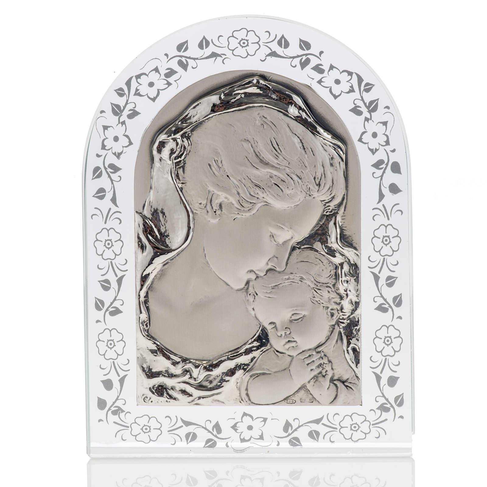 Bas-relief Vierge avec l'enfant Jésus et fleurs argent 4