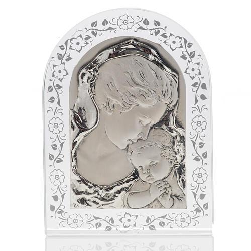Bas-relief Vierge avec l'enfant Jésus et fleurs argent 1