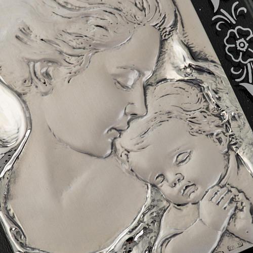 Bas-relief Vierge avec l'enfant Jésus et fleurs argent 2
