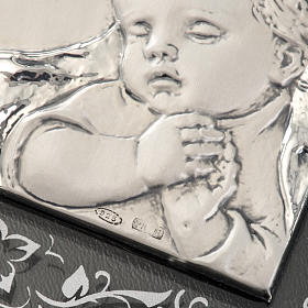 Bas-relief in silver, flowers, Mary and baby Jesus s4