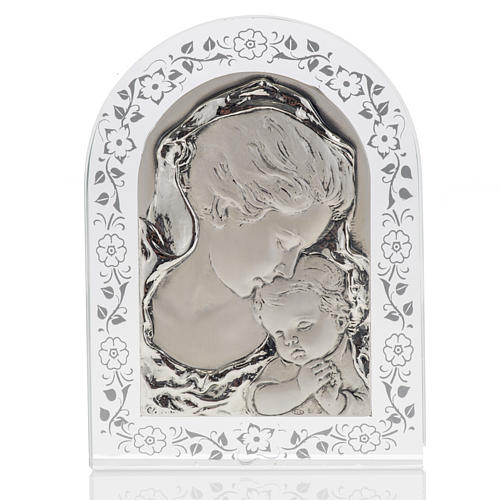 Bas-relief in silver, flowers, Mary and baby Jesus 1