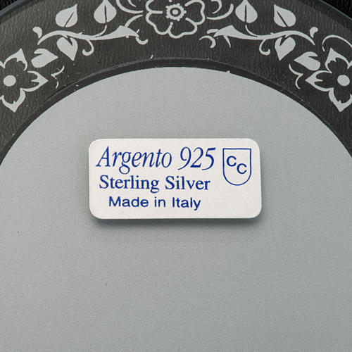 Bas-relief in silver, flowers, Mary and baby Jesus 3