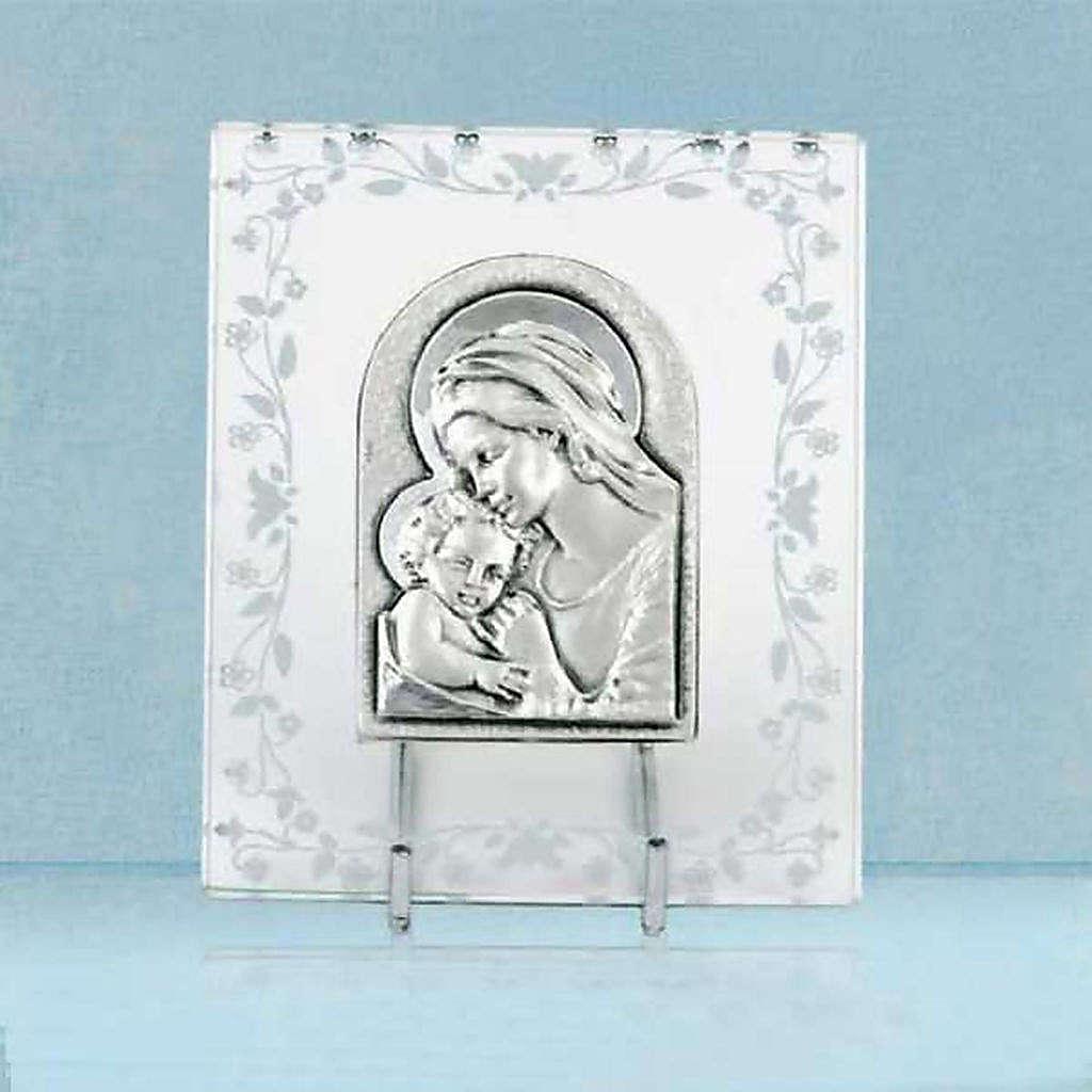 Bas-relief argent Vierge avec l'enfant cadre en verre 4