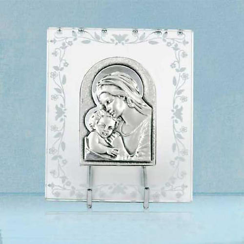 Bas-relief argent Vierge avec l'enfant cadre en verre 1