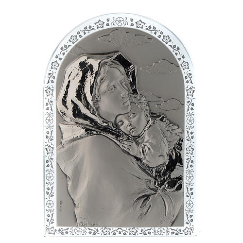 Bassorilievo argento Madonna Ferruzzi cornice vetro 1
