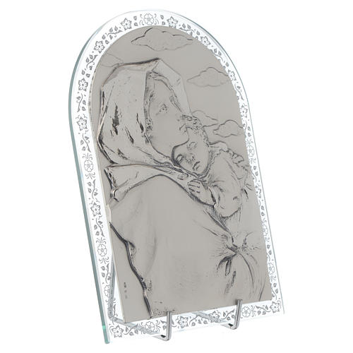 Bassorilievo argento Madonna Ferruzzi cornice vetro 2
