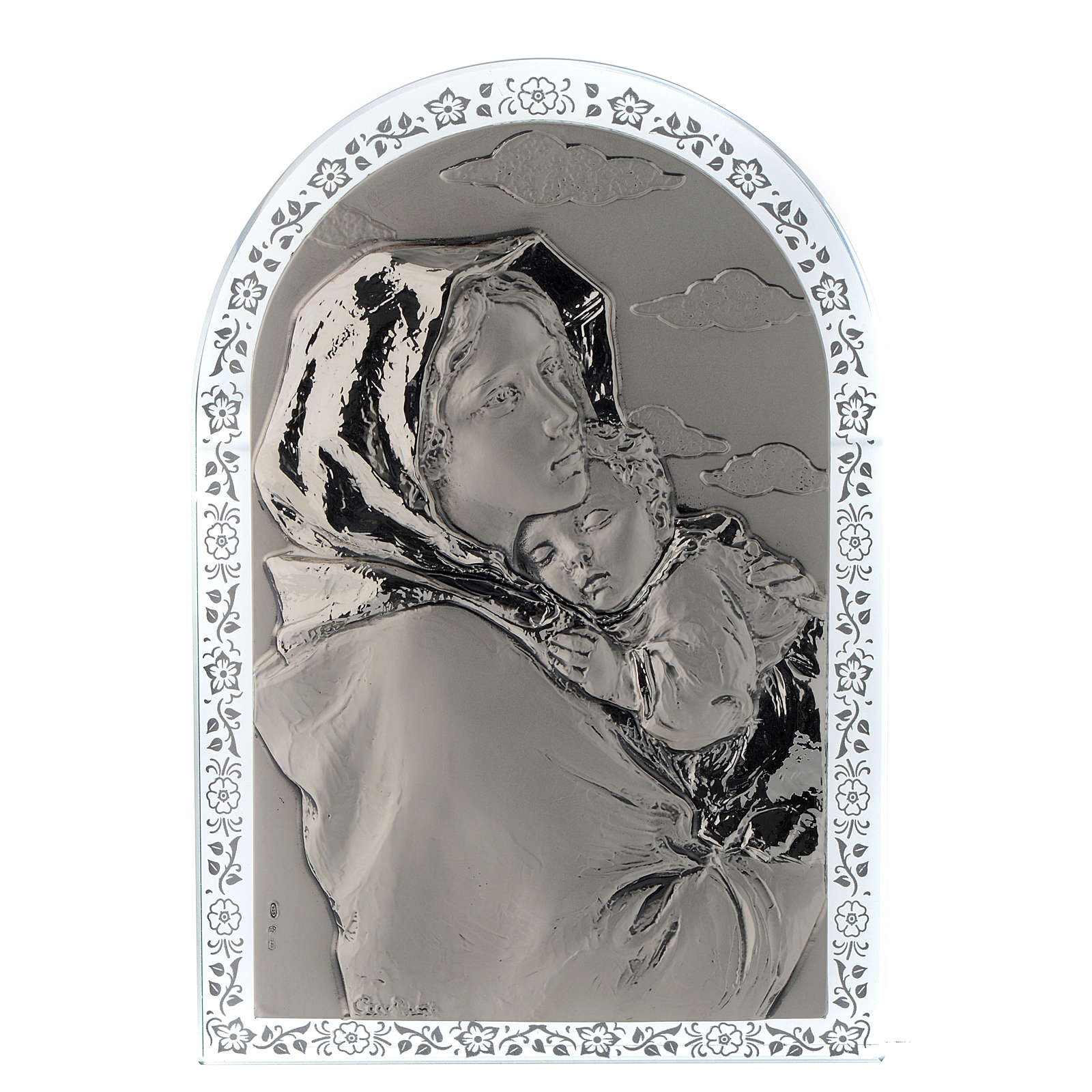 Bas-relief in silver, Ferruzzi's Madonna glass frame 4