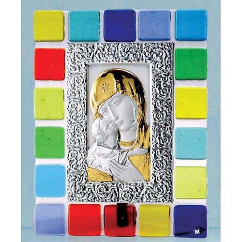 Matka Boska Czuła płaskorzeźba srebro i złoto 1. plan szkło kolorowe 1