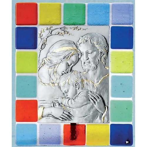 Bassorilievo argento Sacra Famiglia primo piano vetro colorato 1