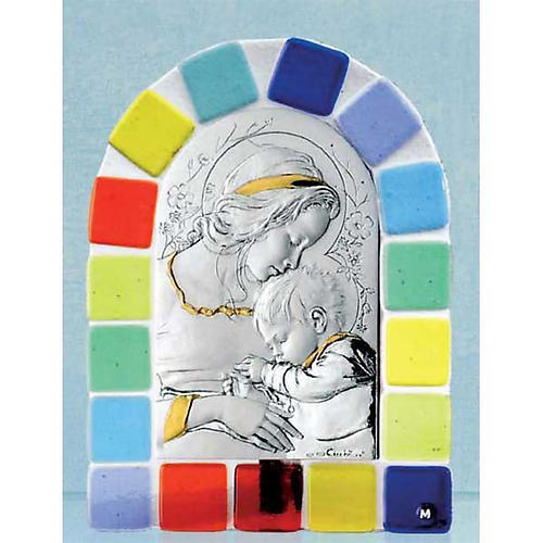 Bas-relief in silver, Virgin and baby Jesus, coloured glass 1