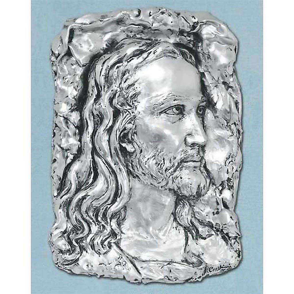 Bas-relief in silver metal, face of Christ 4