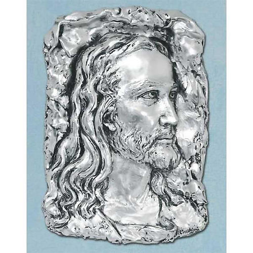 Bas-relief in silver metal, face of Christ 1