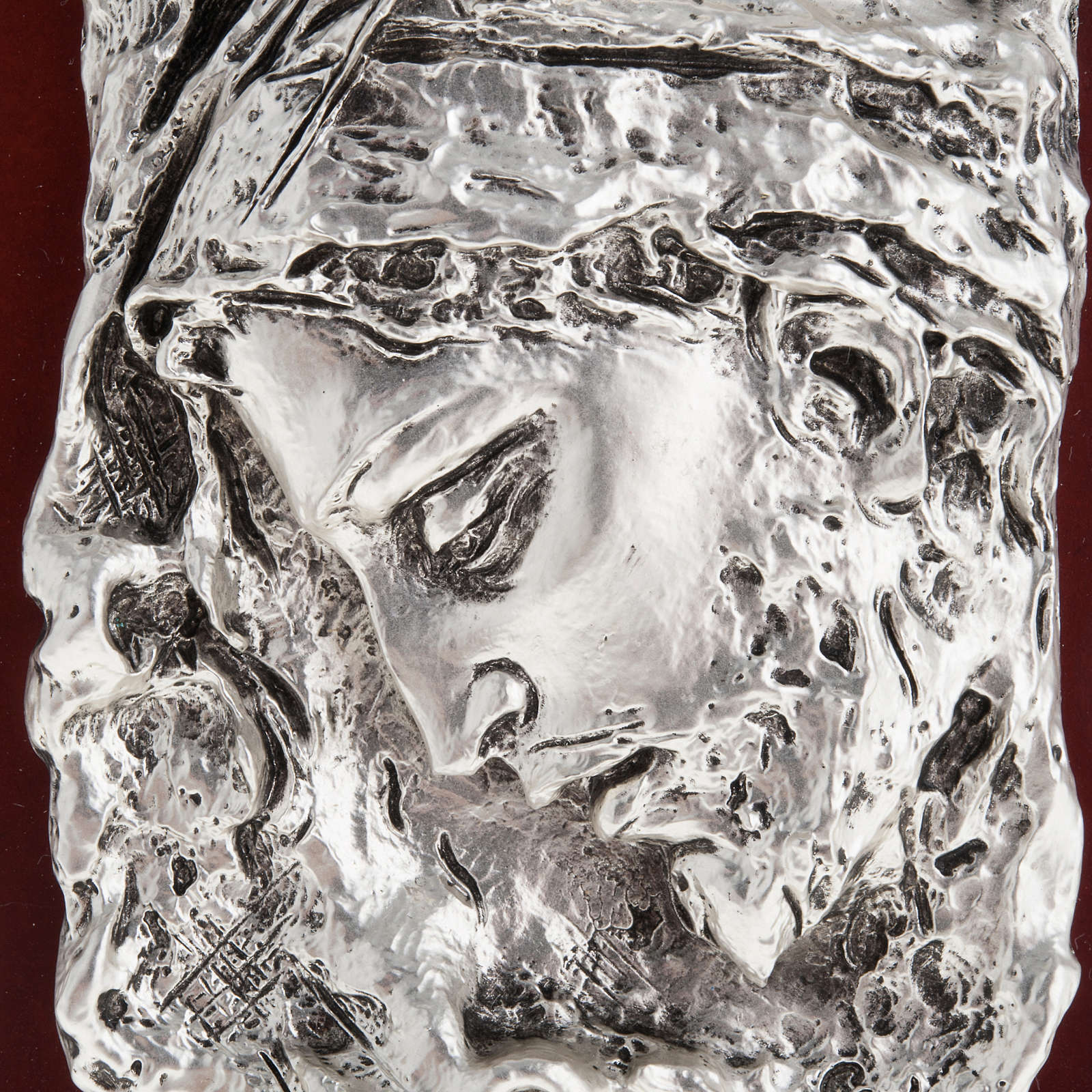 Basrelieffigur Gesicht Christi, silberweisses Metall 4