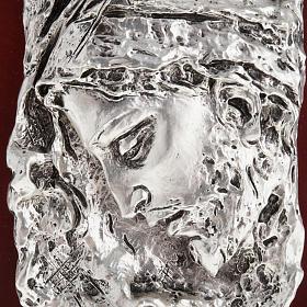 Basrelieffigur Gesicht Christi, silberweisses Metall s2