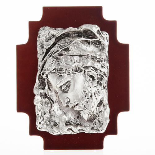 Basrelieffigur Gesicht Christi, silberweisses Metall 1
